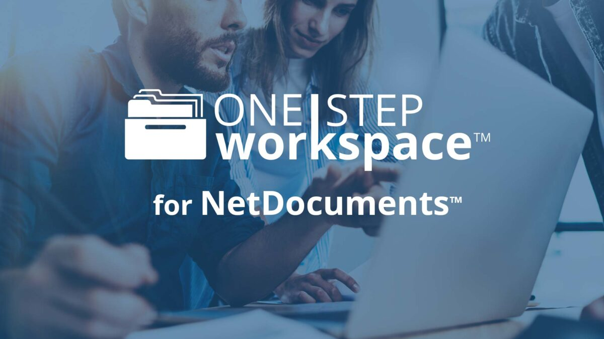 """One Step Workspace for NetDocuments"" logo over man and woman with computer"
